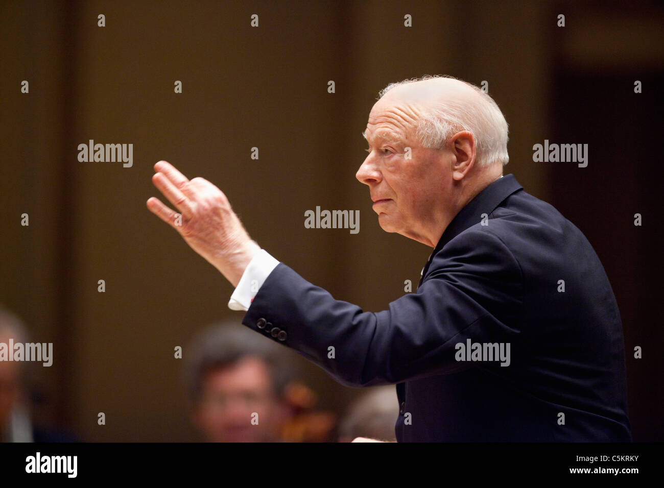 Maestro Bernard Haitink conducts the Chicago Symphony Orchestra as they perform Beethoven's 9th Symphony as - Stock Image