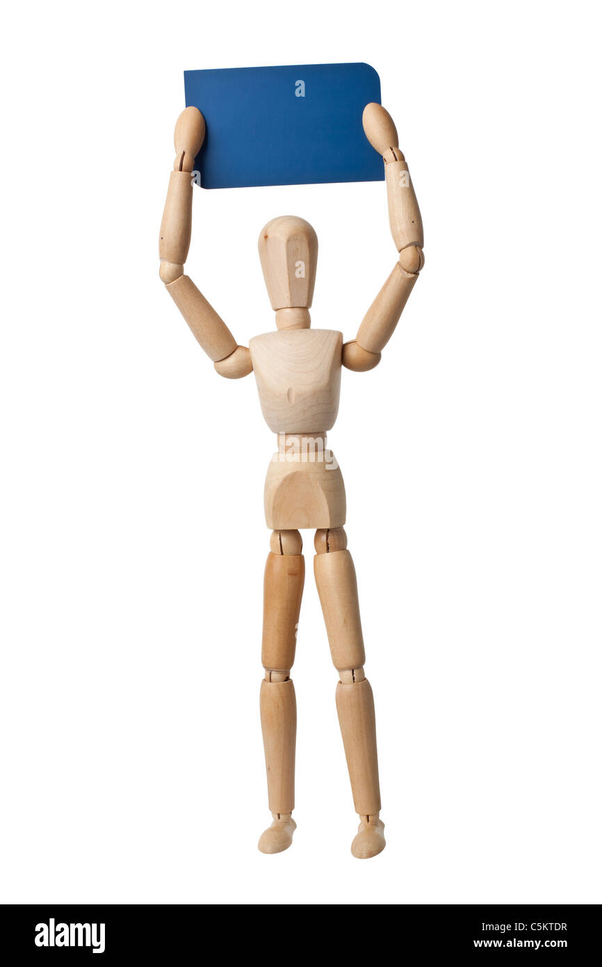 Wooden mannequin holding a business card isolated on white background - Stock Image