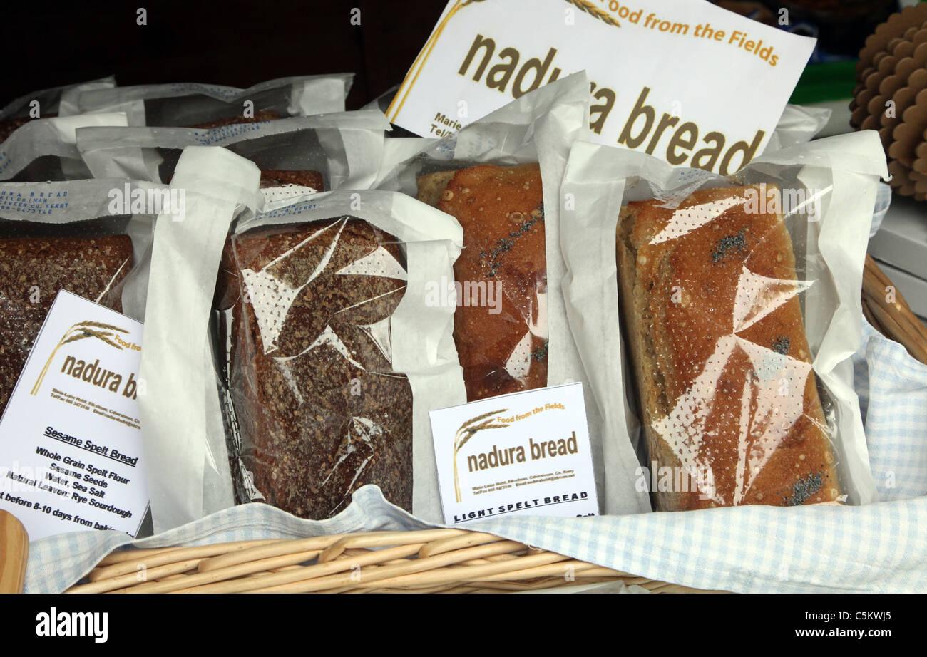 Irish artisan breads on sale Ballinskelligs Beach Cafe Sunday Market, Co Kerry, Ireland Stock Photo