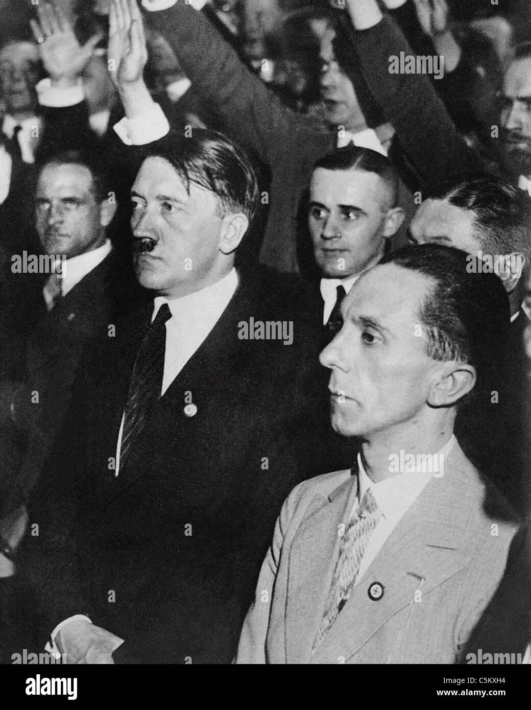 Joseph Goebbels German wartime Minister of Propaganda with Adolf Hitler from the archives of Press Portrait Service Stock Photo