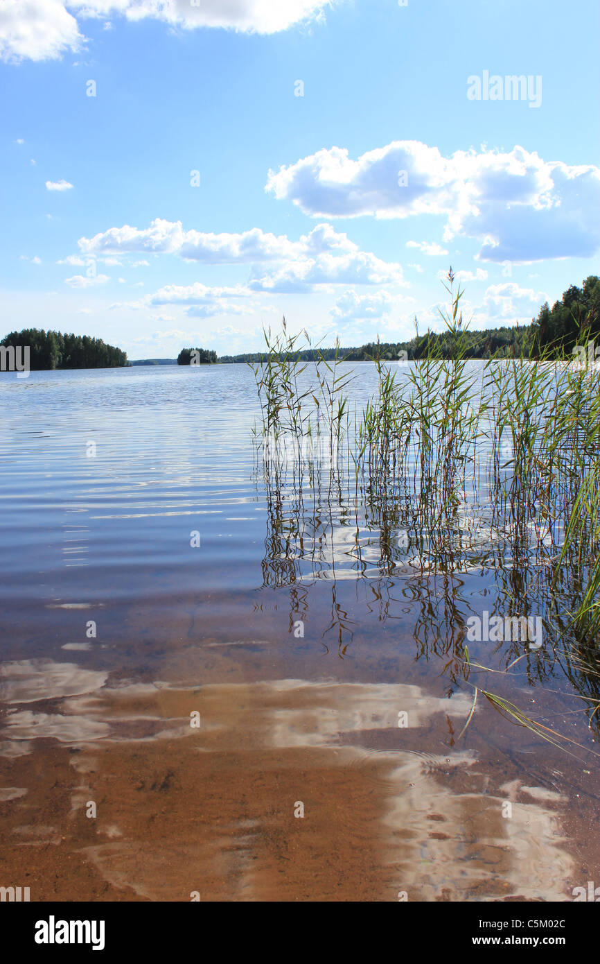 Finnish lake on a hot summer day - Stock Image