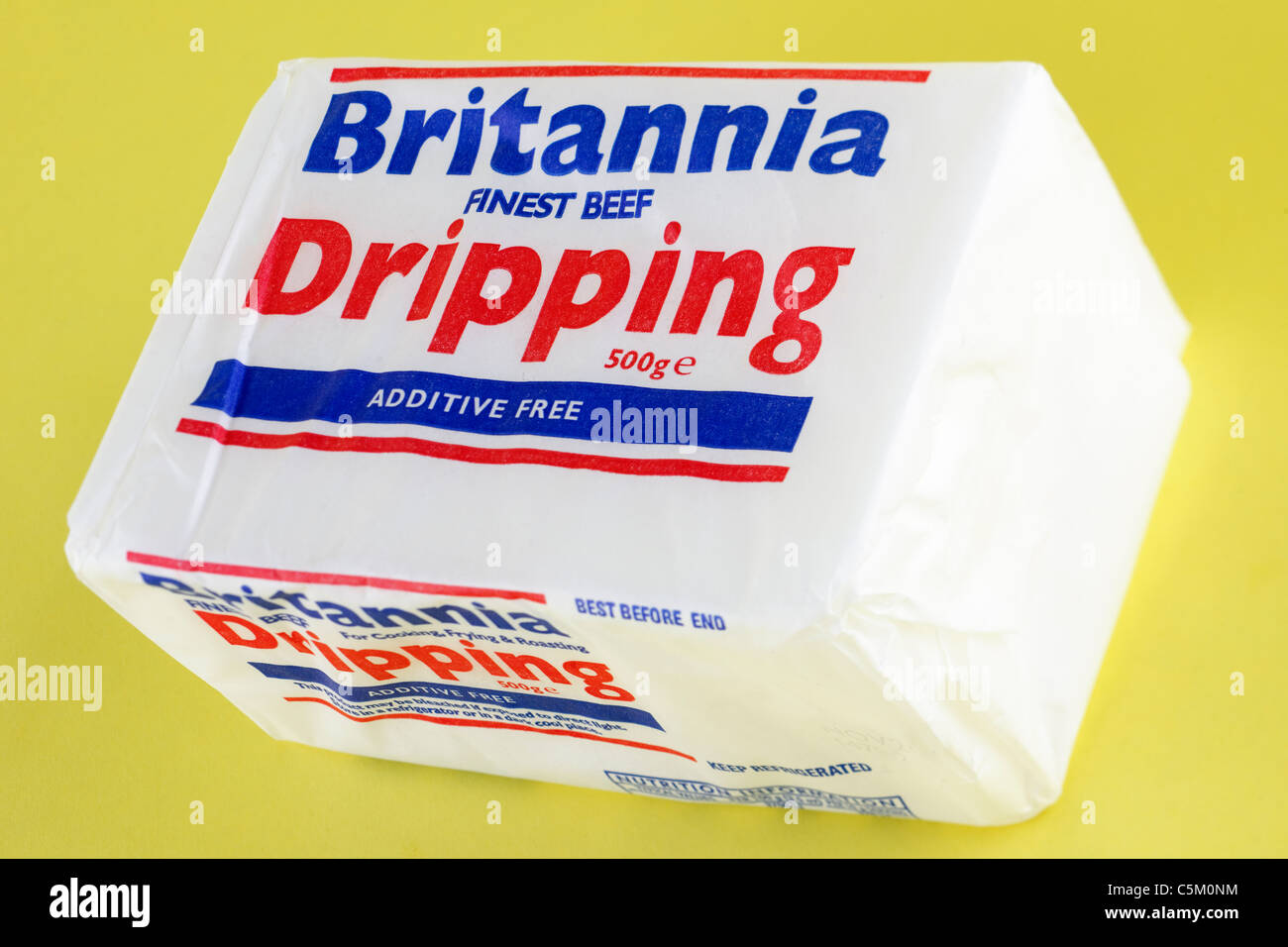 500 gram block of Britannia finest beef dripping. Stock Photo