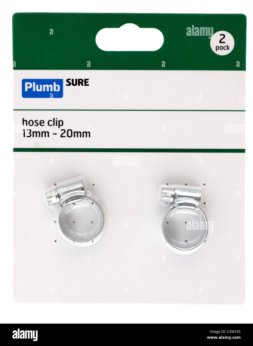Plumb Sure Two pack of 13mm 20mm hose clips. - Stock Image