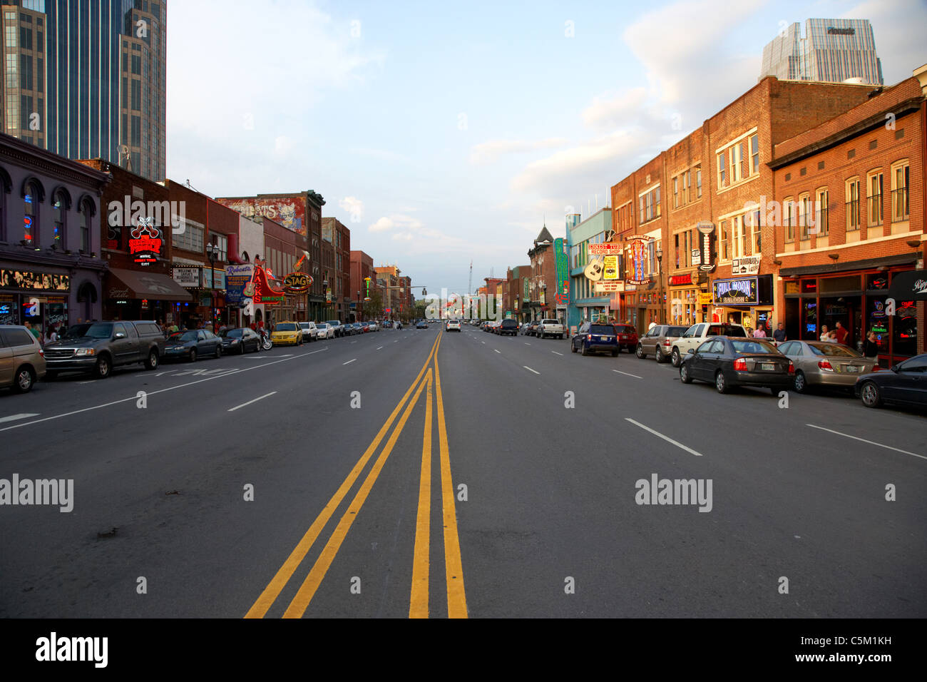 broadway downtown Nashville Tennessee USA - Stock Image