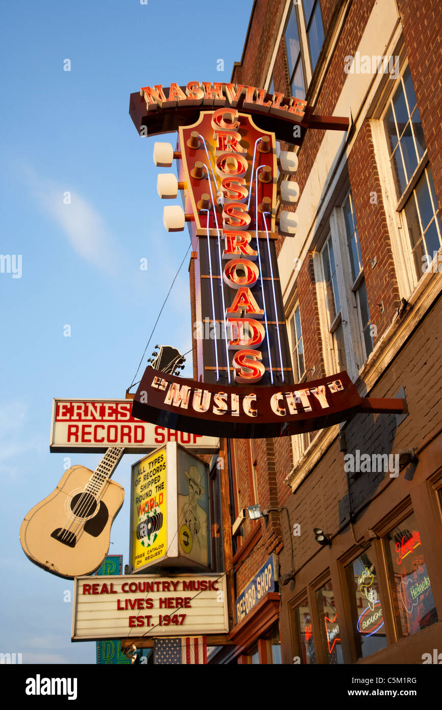 nashville crossroads music city ernest tubbs record shop on broadway downtown Nashville Tennessee USA - Stock Image