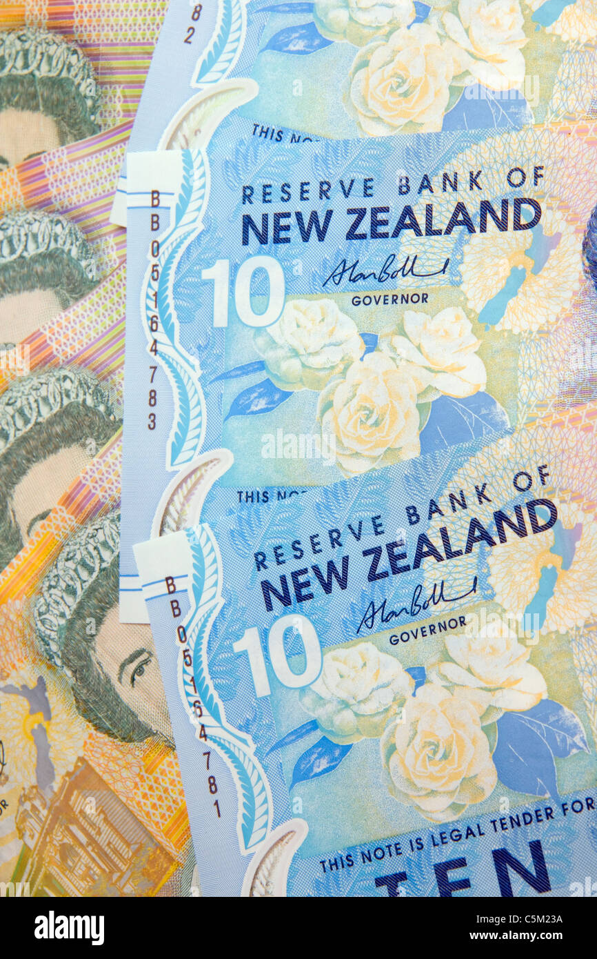 New Zealand currency, dollars, tens and twenties - Stock Image