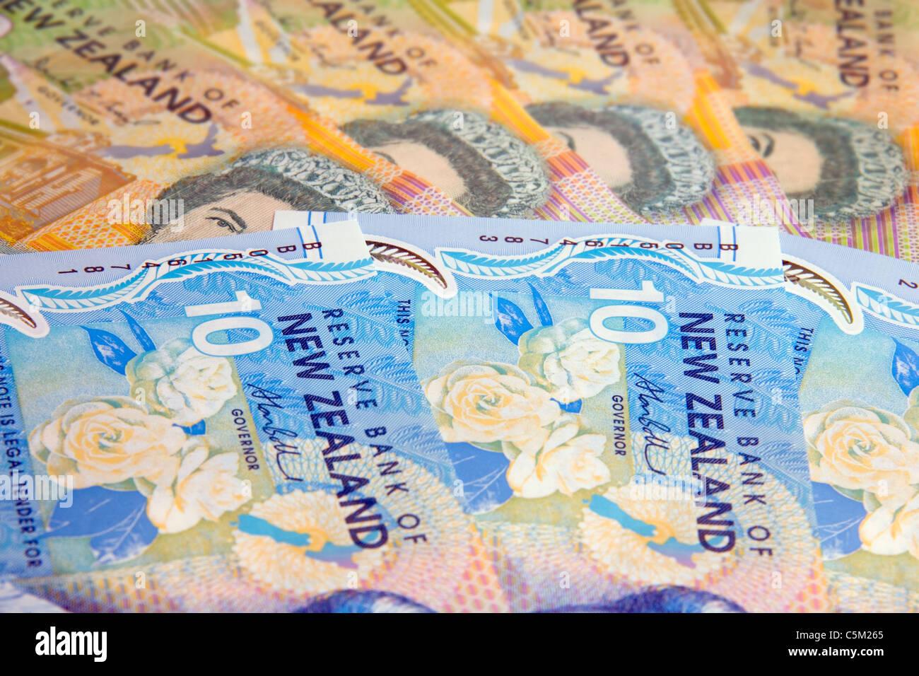 New Zealand currency, dollars, tens and twenties - Stock Image