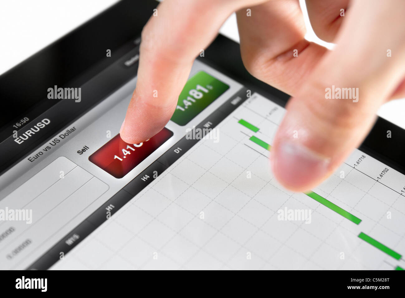 Touching sell button on stock market EUR/USD pair on a touch screen device. - Stock Image