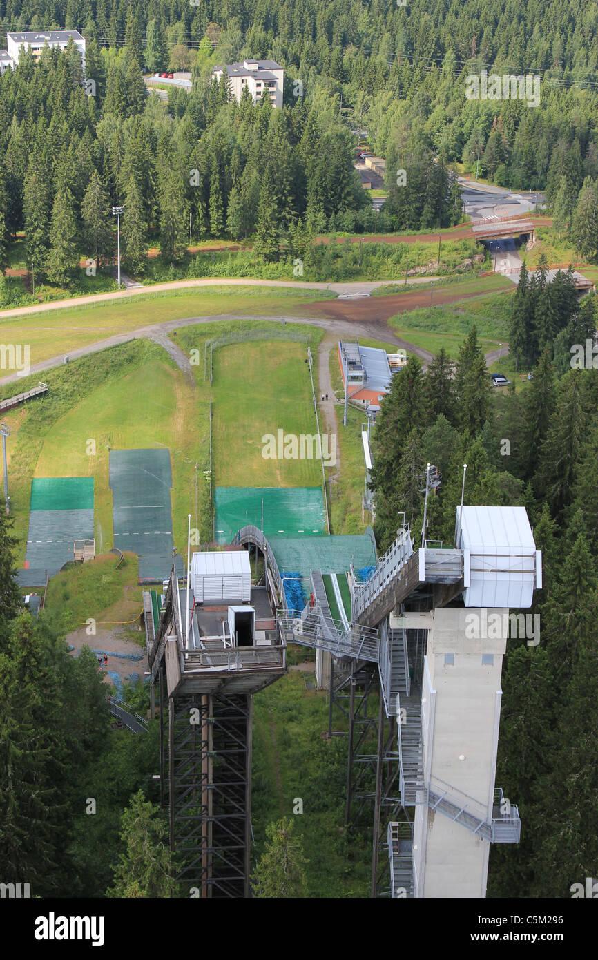 Ski jumping tower in Puijo, Kuopio during summer Stock Photo