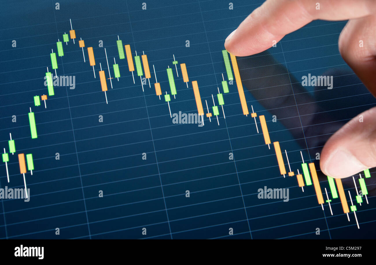Touching stock market graph on a touch screen device. Stock Photo