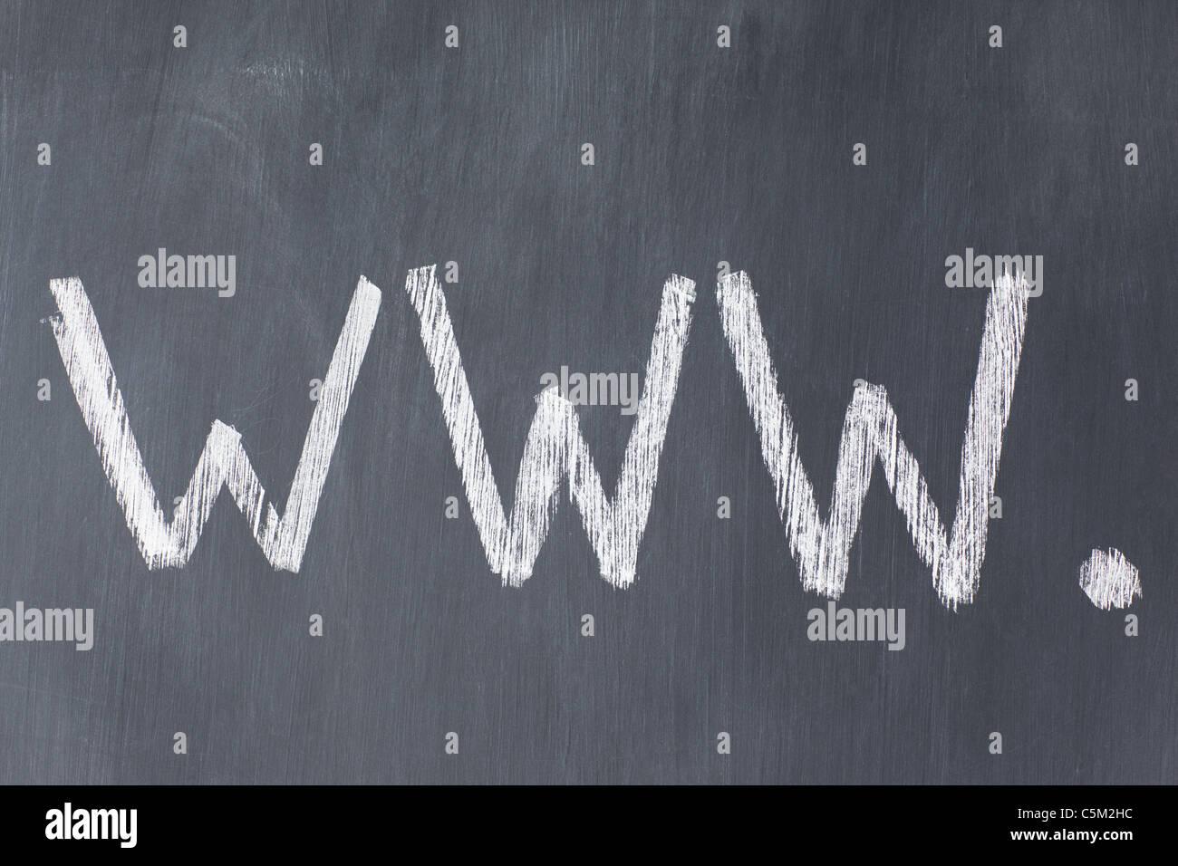 Blackboard with letters www' written on it' - Stock Image