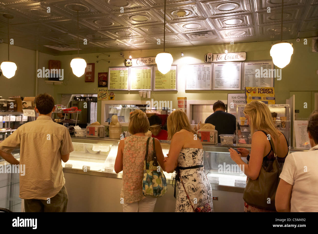 customers queue inside mikes ice cream shop Nashville Tennessee USA - Stock Image
