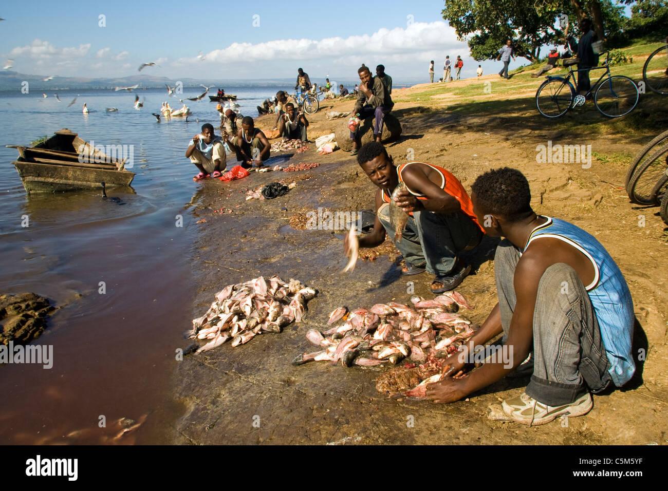 Fishermen Lake Awasa Ethiopia - Stock Image