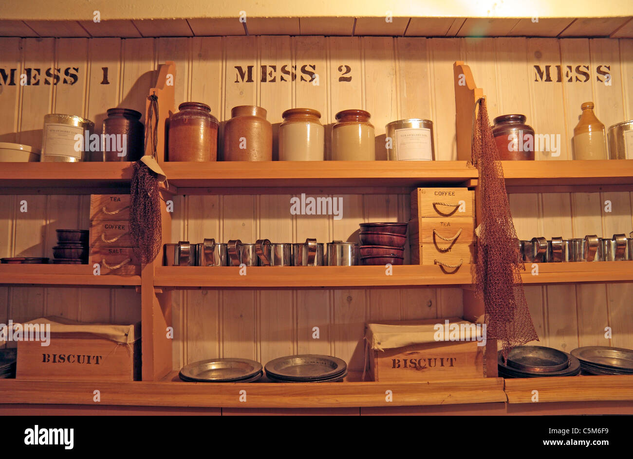 View of the mess inside Brunel's SS Great Britain, in the Dockyard Museum, Great Western Dockyard, Bristol, - Stock Image