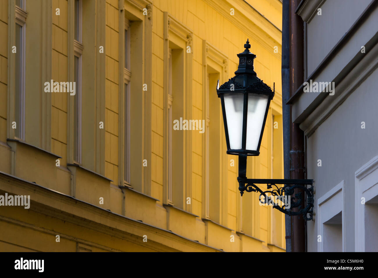 Prague street lamp - Stock Image