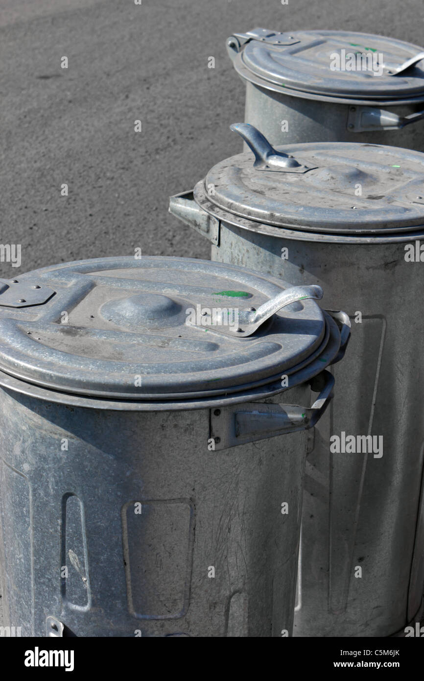 garbage cans - Stock Image