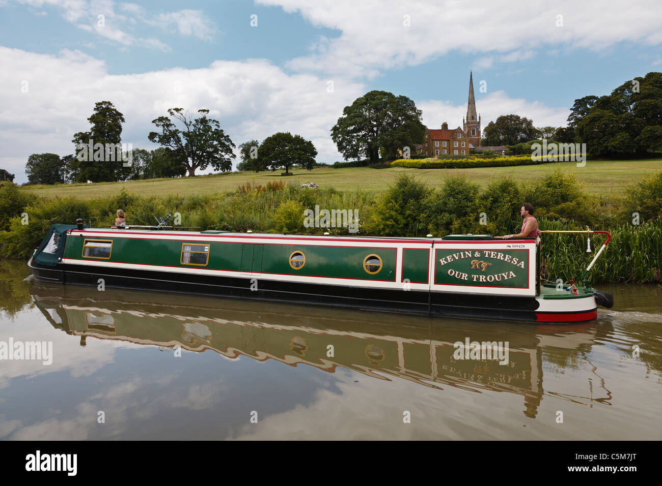 Narrowboat on the Grand Union Canal at Braunston, Northamptonshire - Stock Image