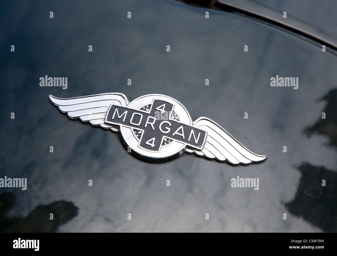 Badge on Morgan sports car, London - Stock Image