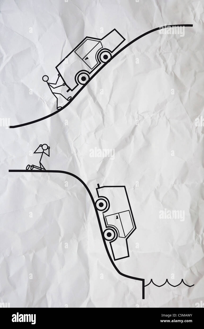 Simple illustration of a humanoid figure having a problem with his car. - Stock Image