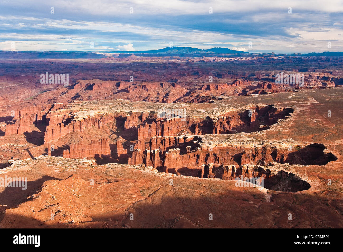 Sunset at Grand View Point Overlook, Canyonlands National Park, Utah, USA - Stock Image