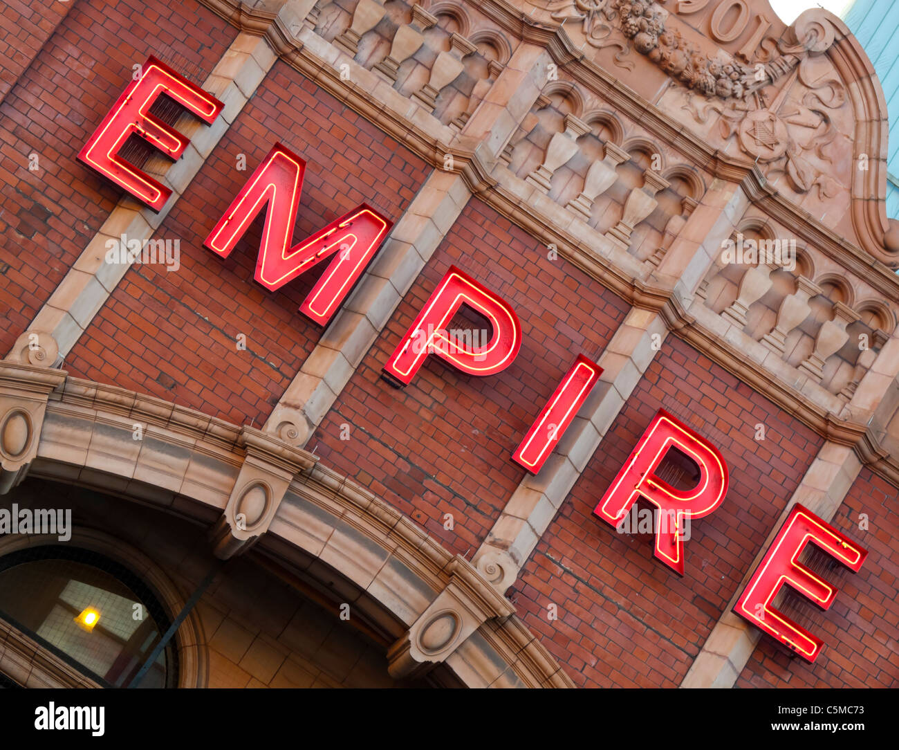 Illuminated sign outside the Hackney Empire Theatre in East London  UK built in 1901 by architect Frank Matcham - Stock Image