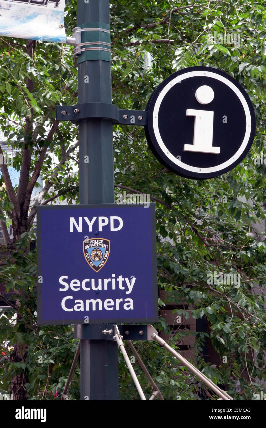 New York City Police Security Camera Sign New York City NY USA - Stock Image