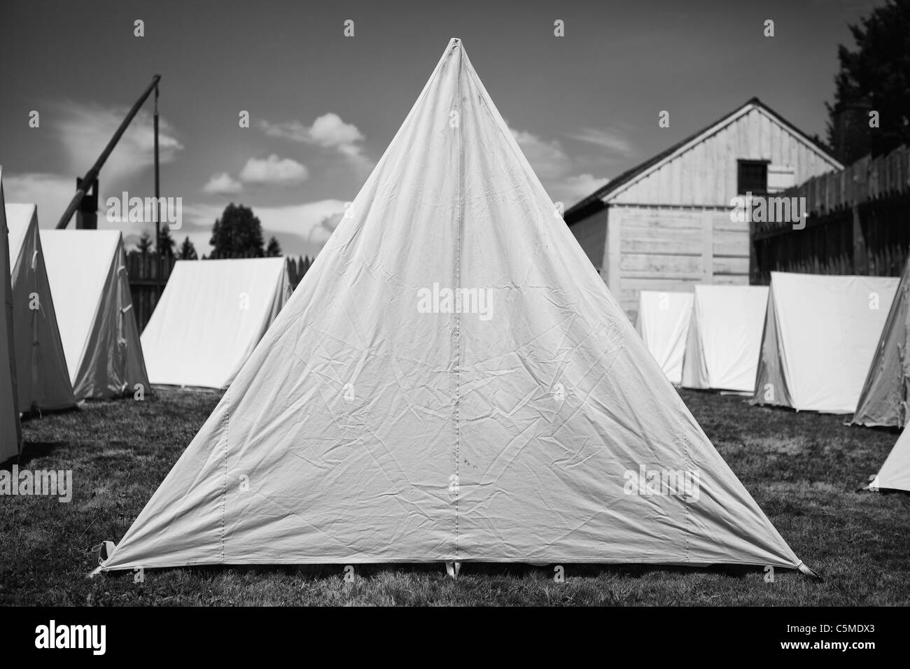 Black And White Image Of 19th Century American Army Tents Stock