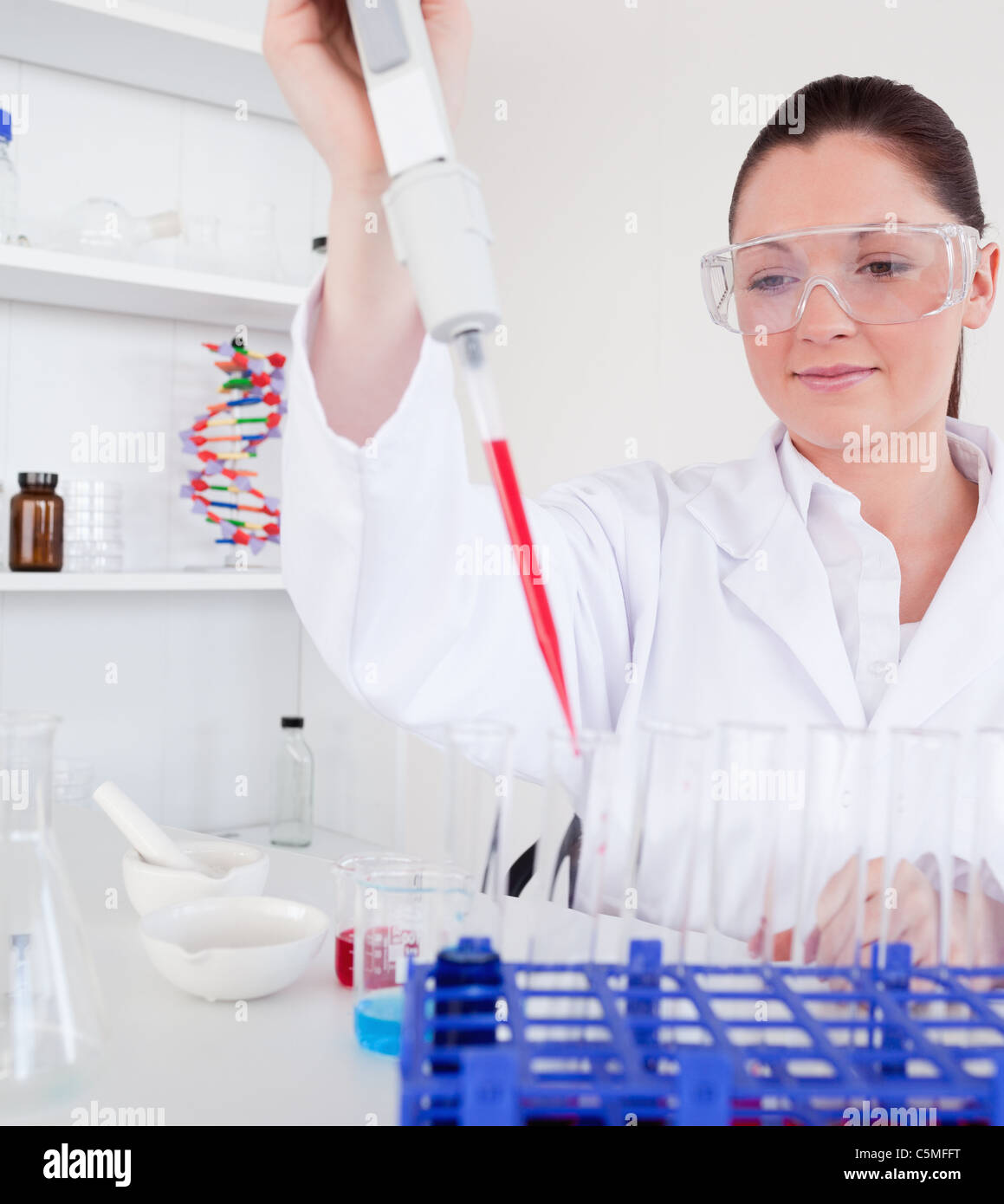 Cute female biologist holding a manual pipette with sample from test tubes - Stock Image