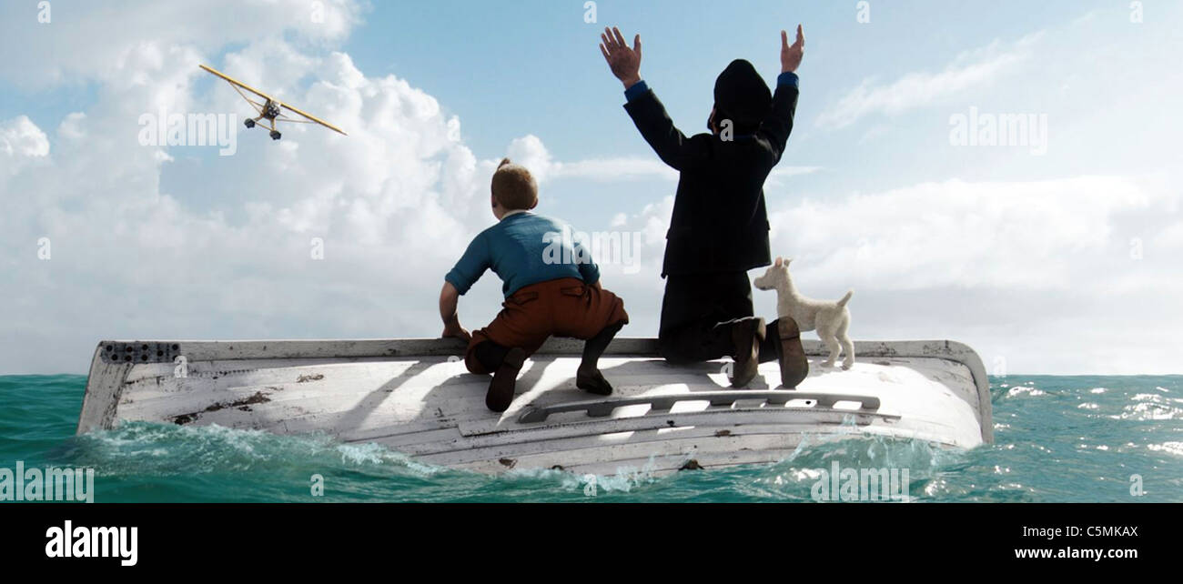 THE ADVENTURES OF TINTIN 2011 Paramount/WETA  film voiced by Jamie Bell ( Tintin), Andy Serkis (Capt Haddock) and - Stock Image