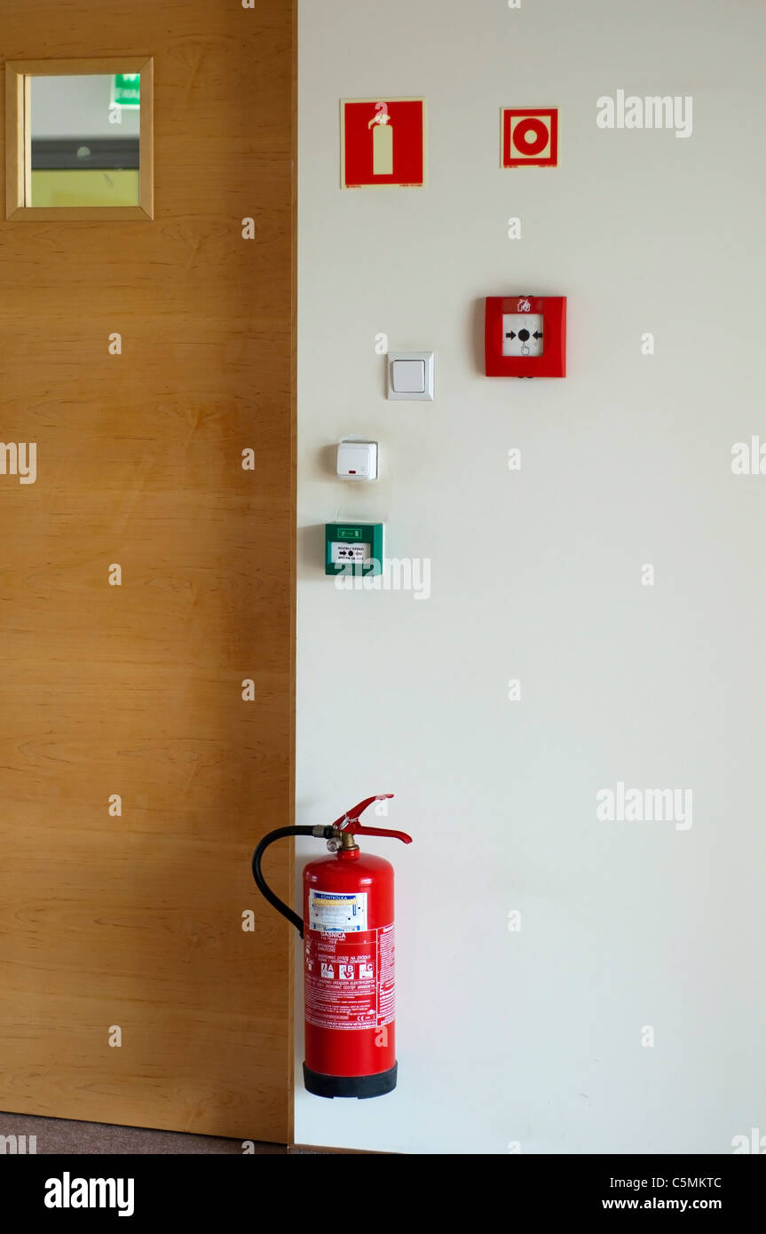 fire extinguisher,the alarming, fire zone - Stock Image