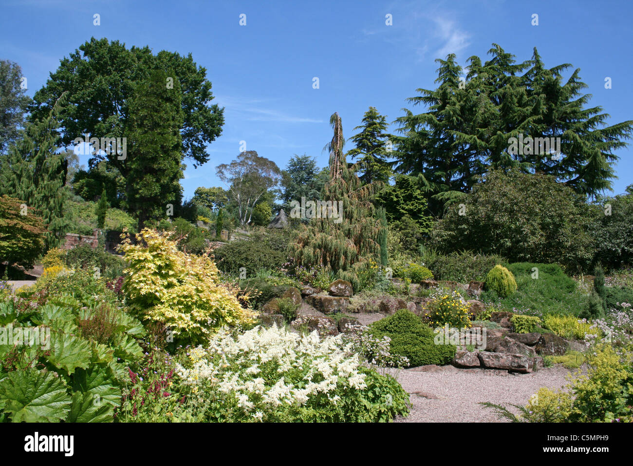 View Of The Rock Garden At Ness Botanical Gardens, Wirral, UK - Stock Image