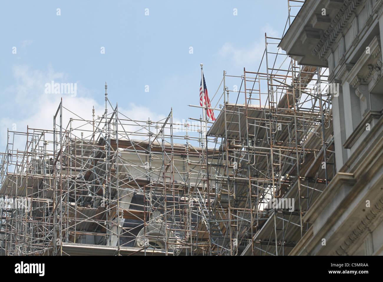 Scaffolding at renovation site Stock Photo