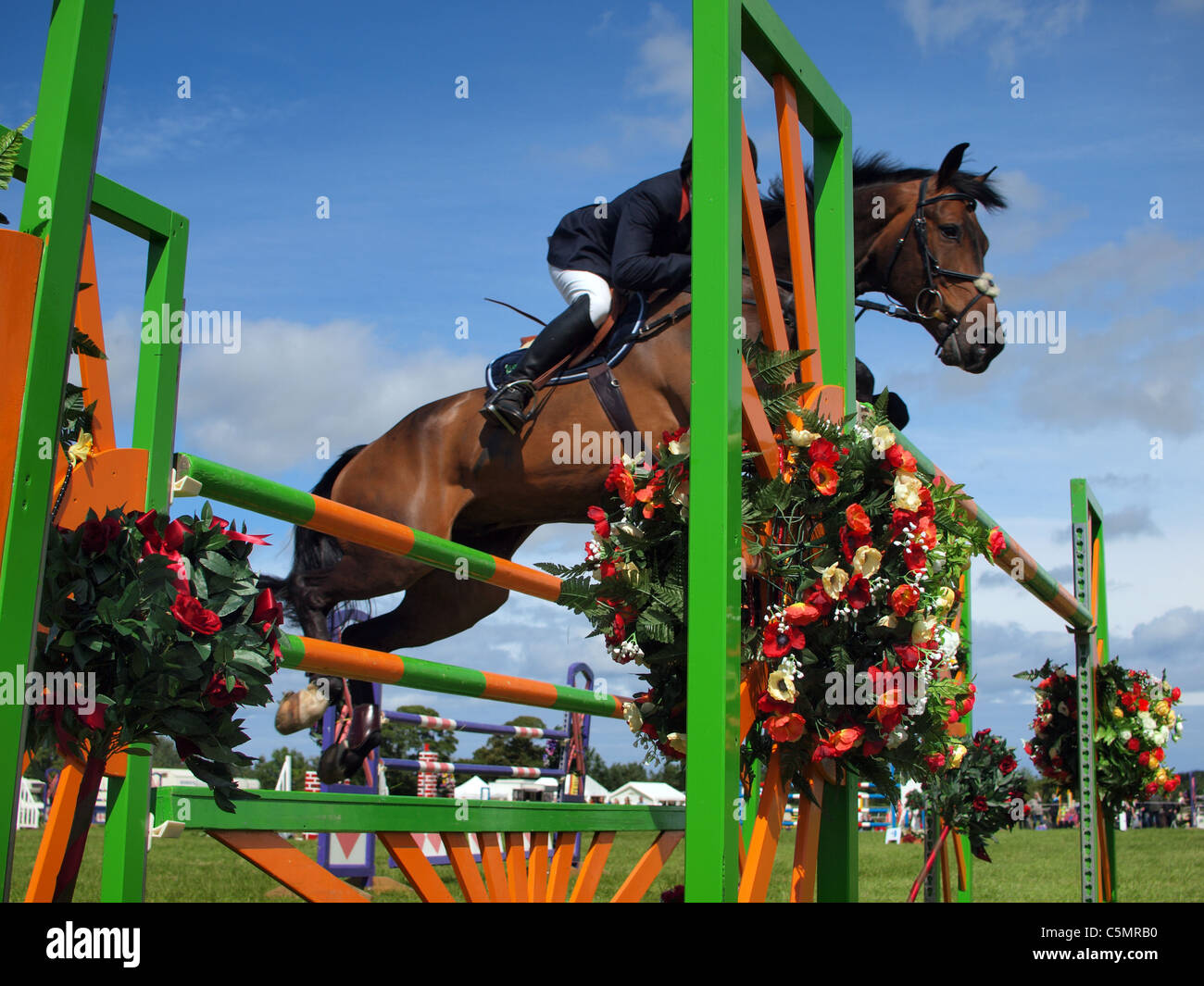 Show jumping at Burgham Horse Trials, Northumberland - Stock Image