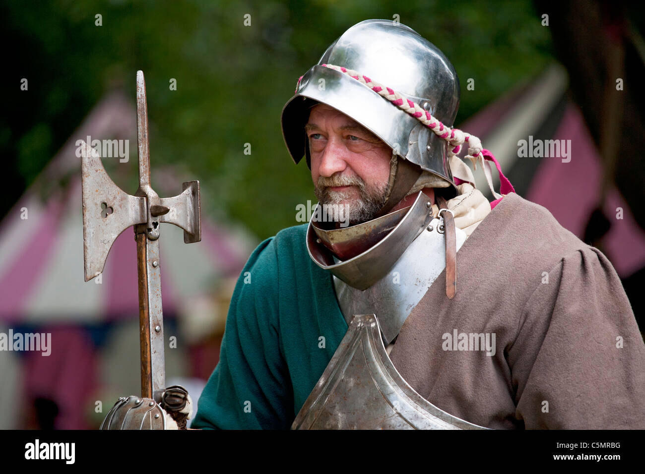 A medieval soldier at the Chesterfield Medieval Market, Derbyshire, England, UK - Stock Image