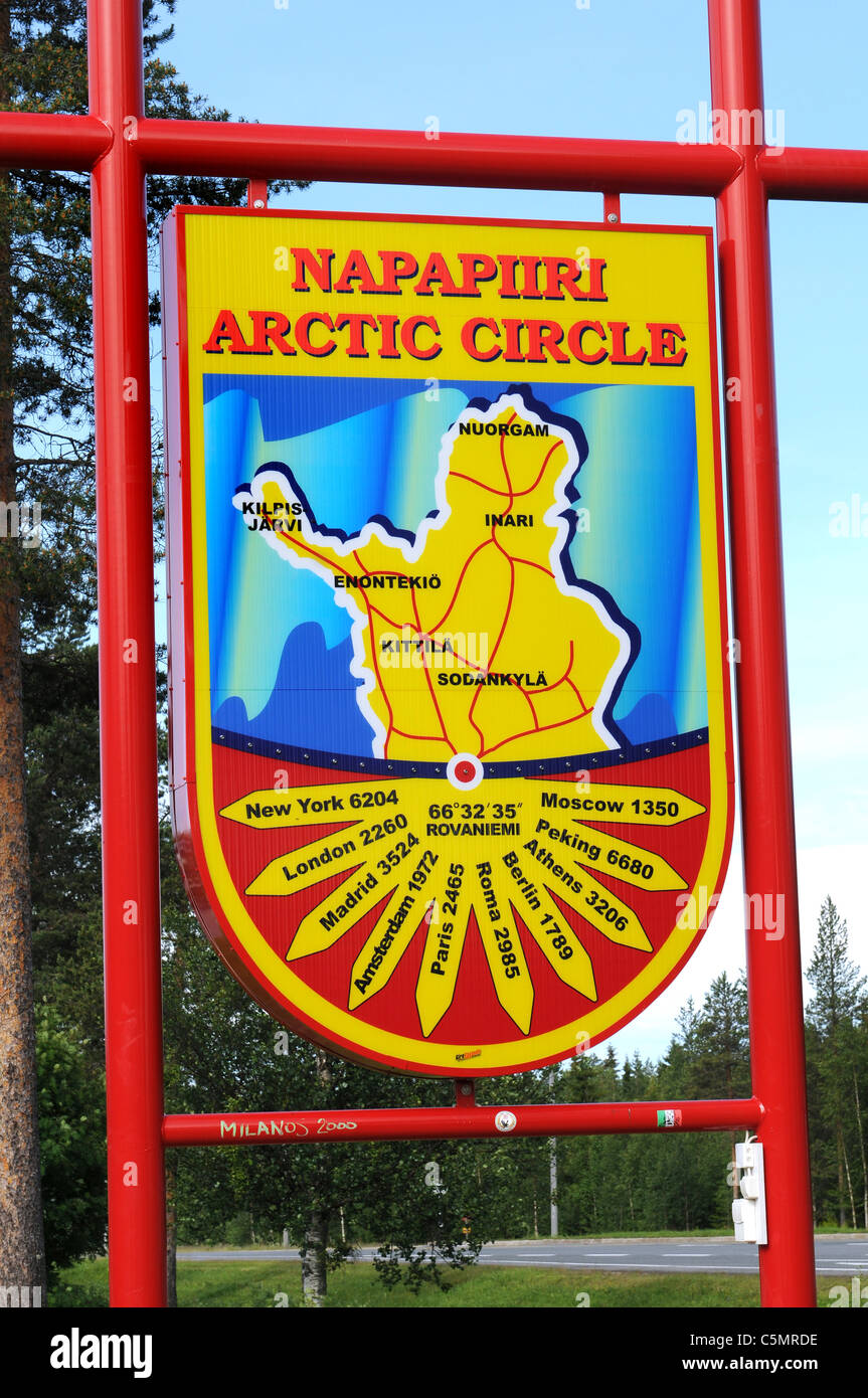 The arctic circle near Rovaniemi in Finland is a well known touristic attraction - Stock Image