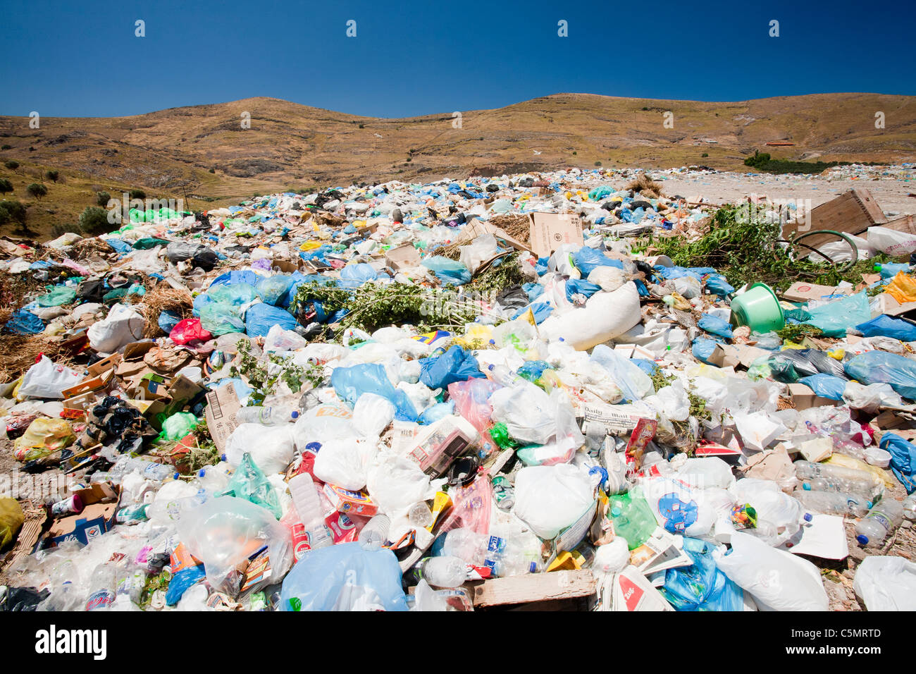 A landfill site in Eresos, Lesbos, Greece. As many islands, rubbish is a problem with no recycling taking place. - Stock Image