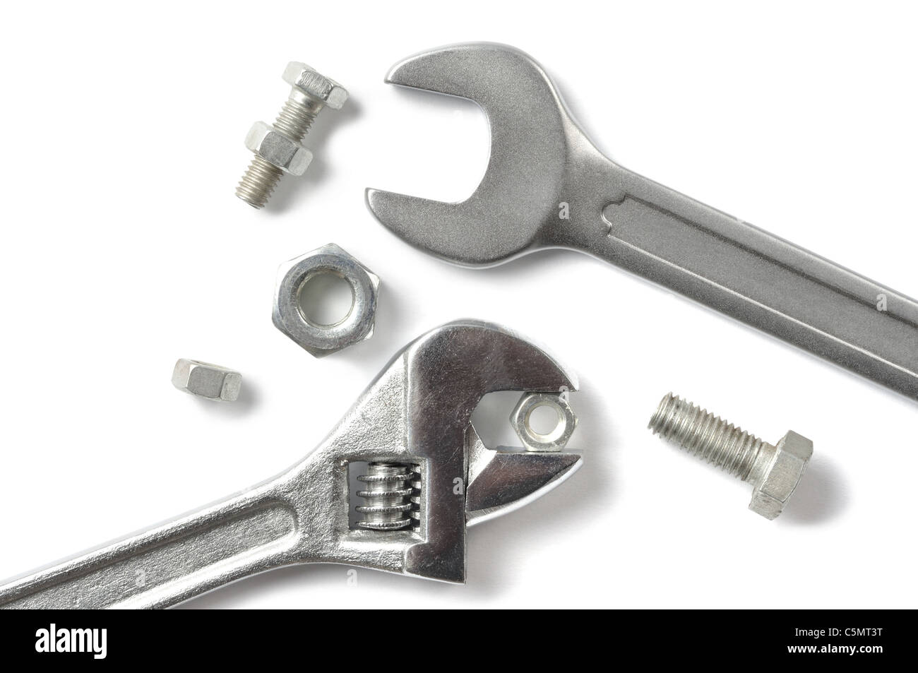 Set of wrenches and screws isolated on white background - Stock Image