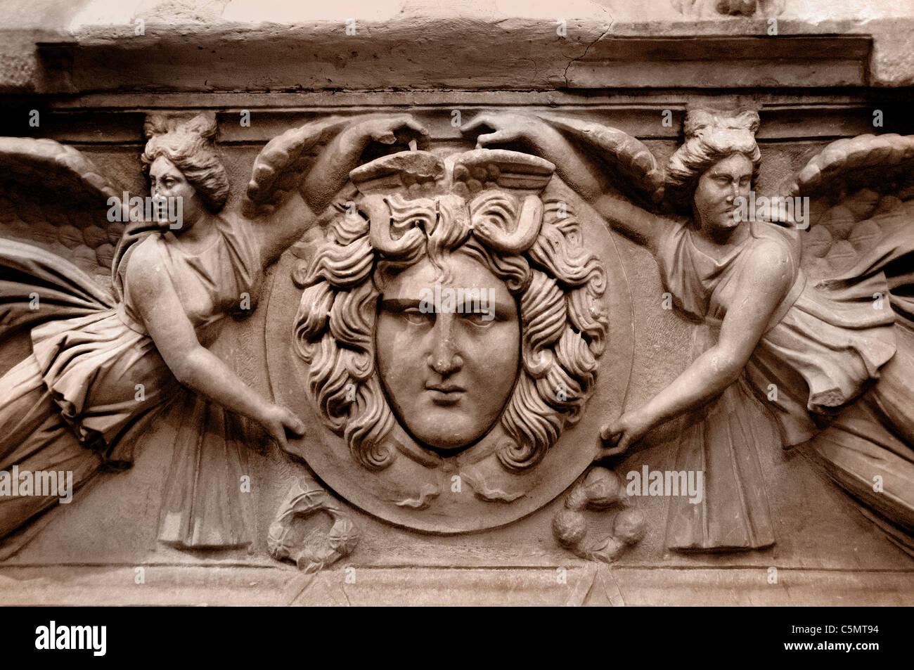 Sarcophagus Tomb Medallion Roman Perge Perga 2 Cent AD Turkey - Stock Image