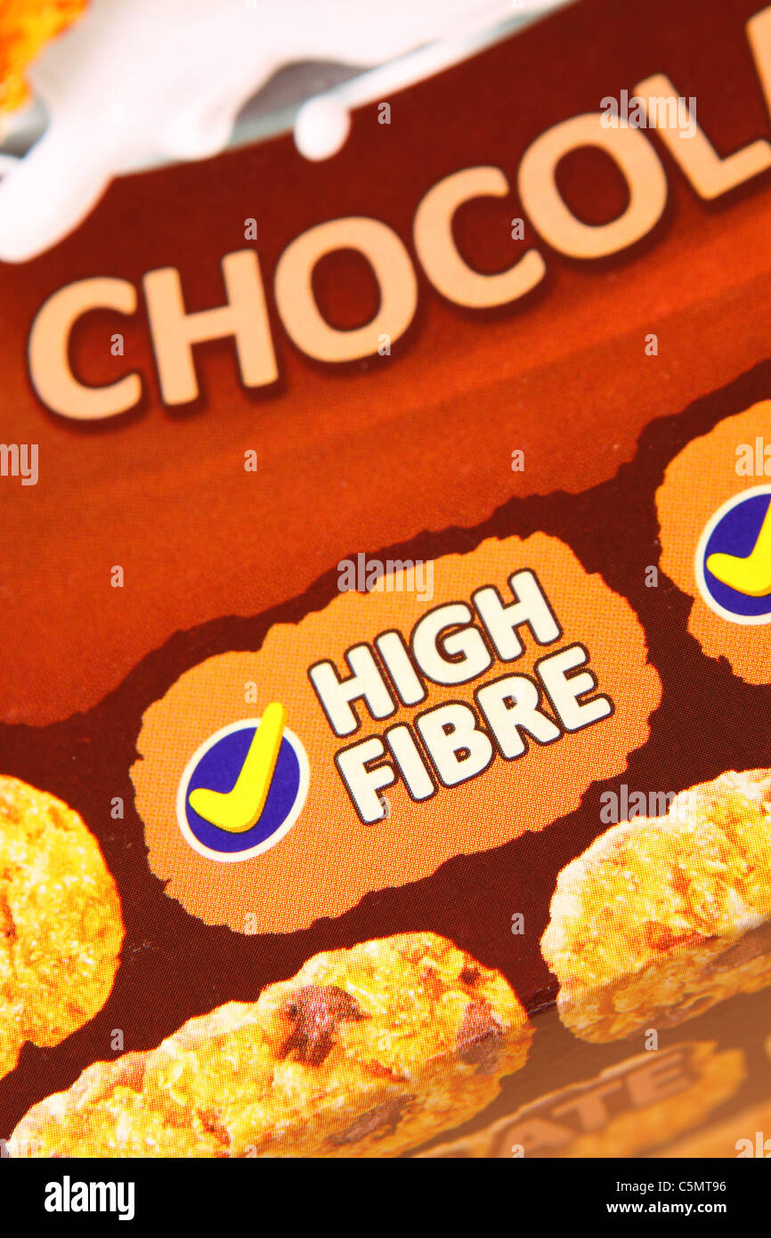 High Fibre content cereal food box packet labeling Stock Photo