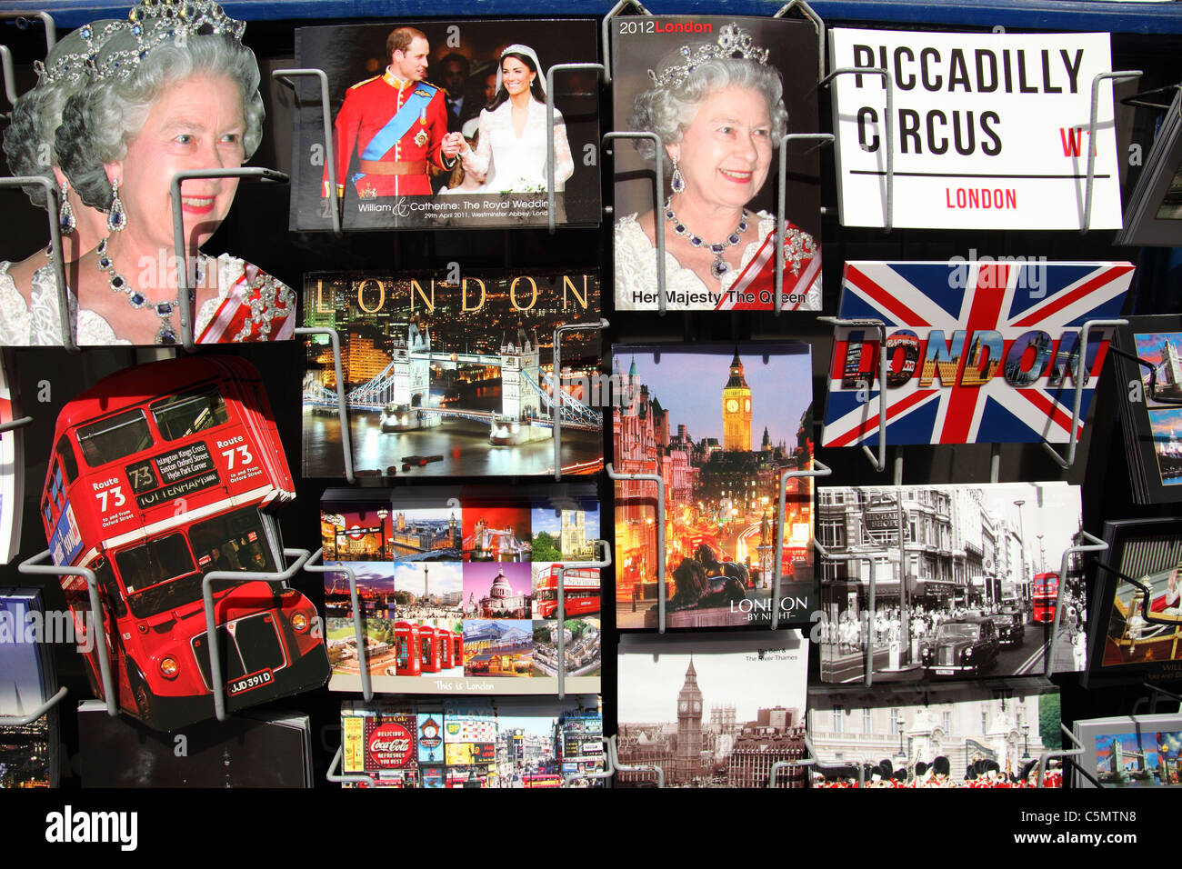 A stall selling souvenirs and postcards in Westminster, London, England, U.K. Stock Photo