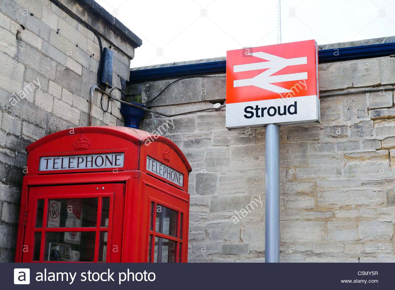 Stroud railway station sign, UK. - Stock Image