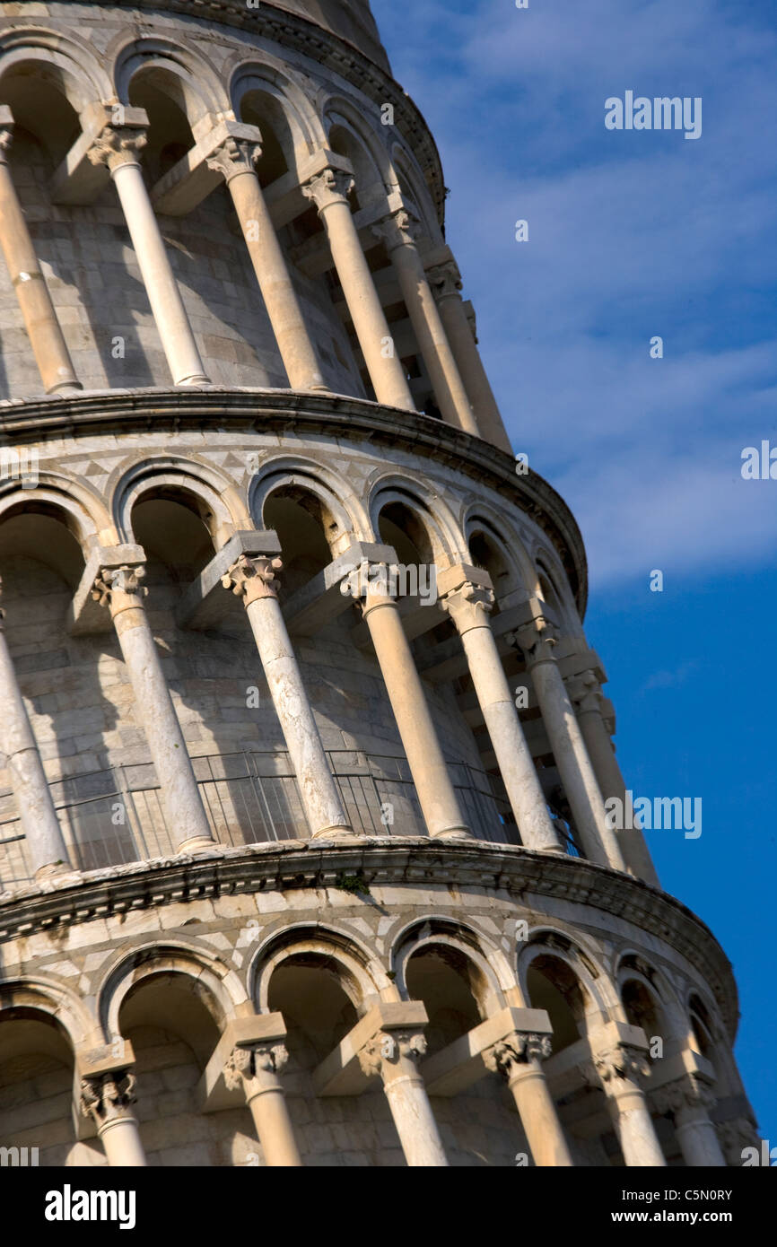 Close-up detail of leaning tower of pisa,tuscany,Italy,europe - Stock Image