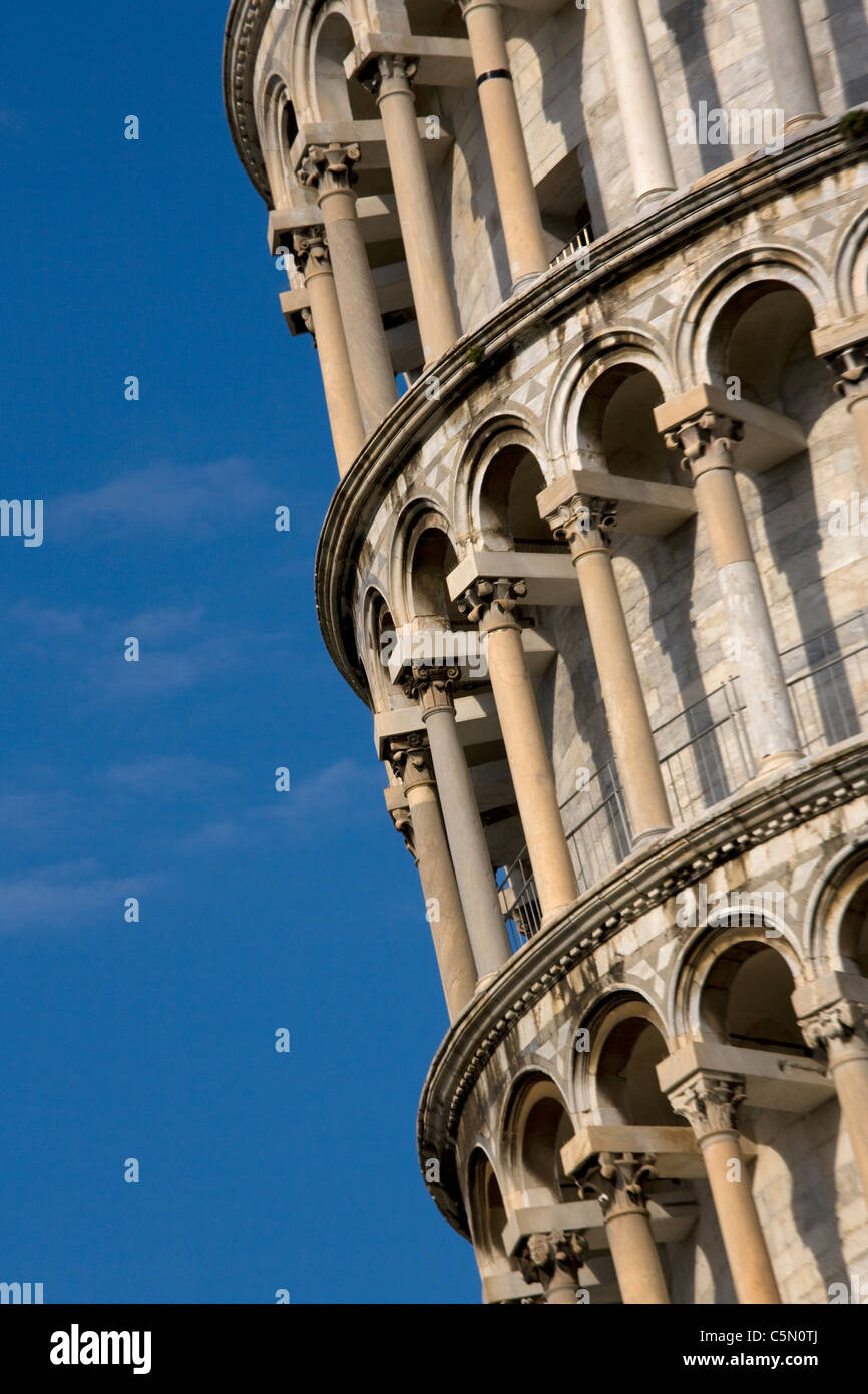 Close-up detail of leaning tower of pisa, Tuscany, Italy, europe - Stock Image