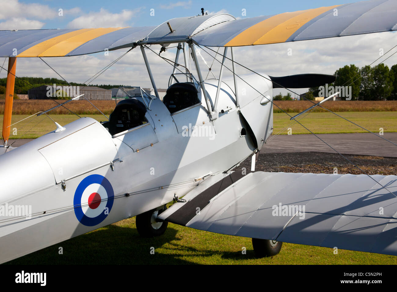 De Havilland DH82A Tiger Moth T7909 G-ANON on the ground - Stock Image