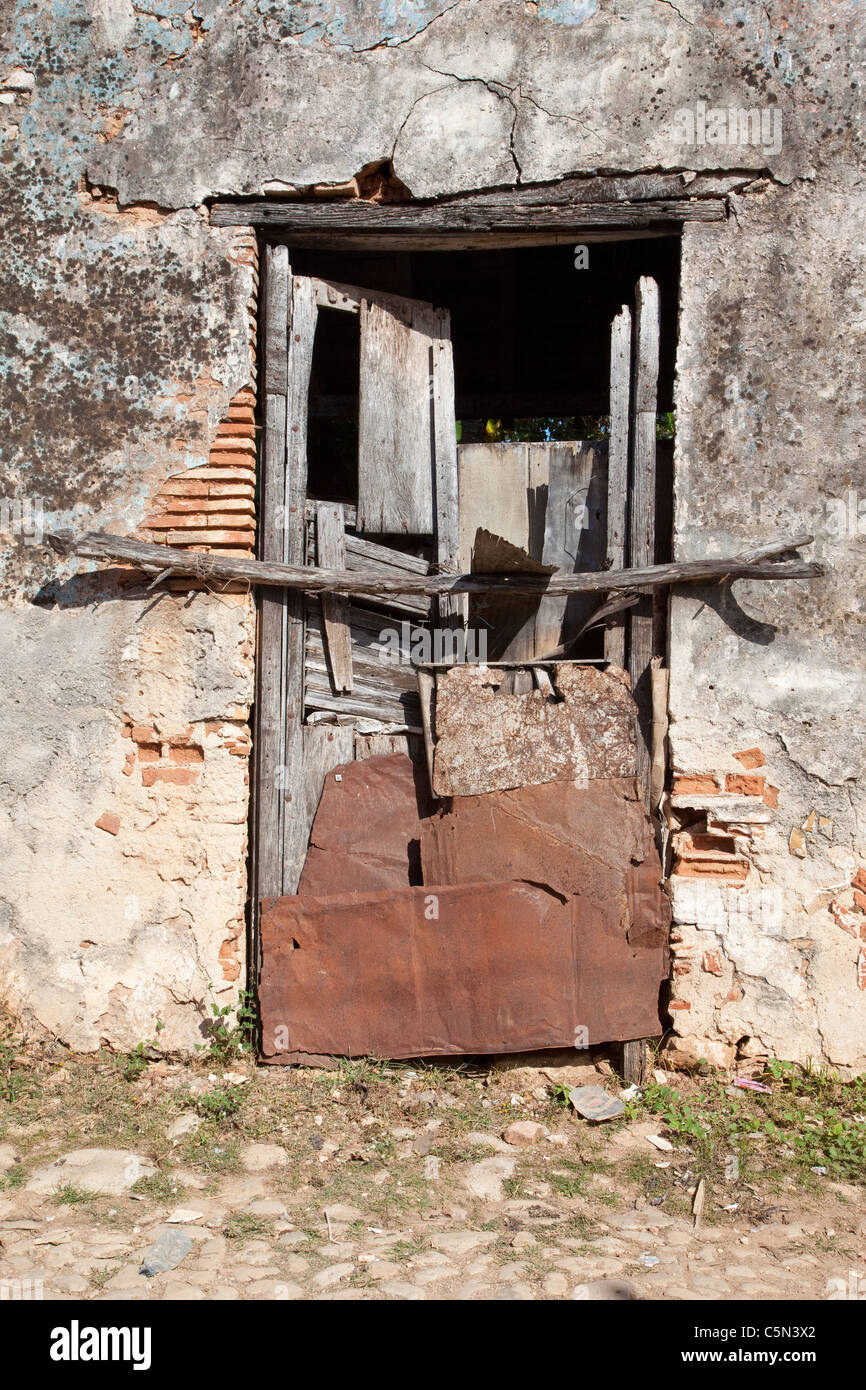 Cuba, Trinidad. Old Doorway of Old Building Blocked Off. Stock Photo