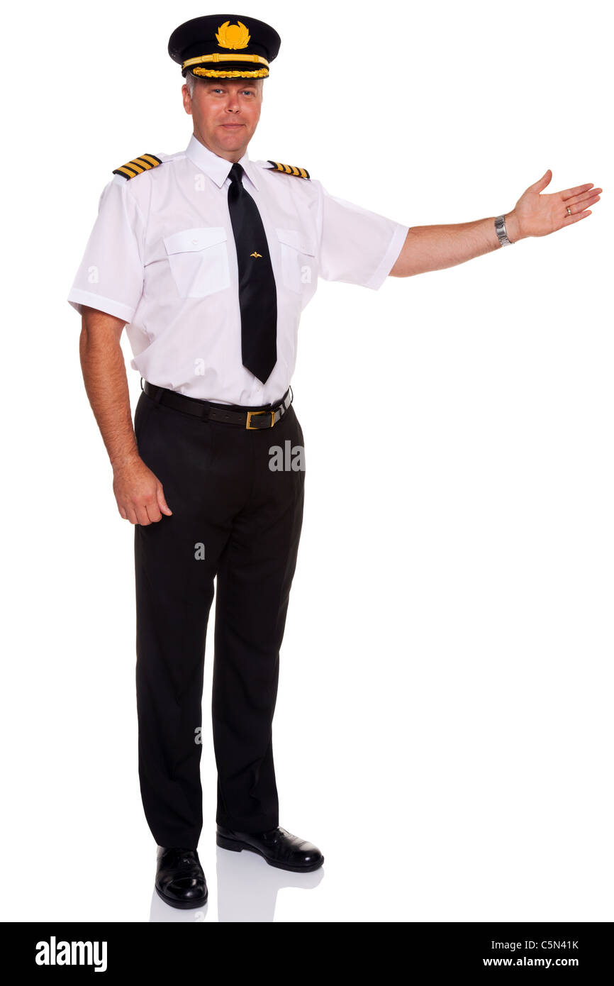 Photo of an airline pilot wearing the four bar Captains epaulettes arm out in a welcome gesture, isolated on a white - Stock Image