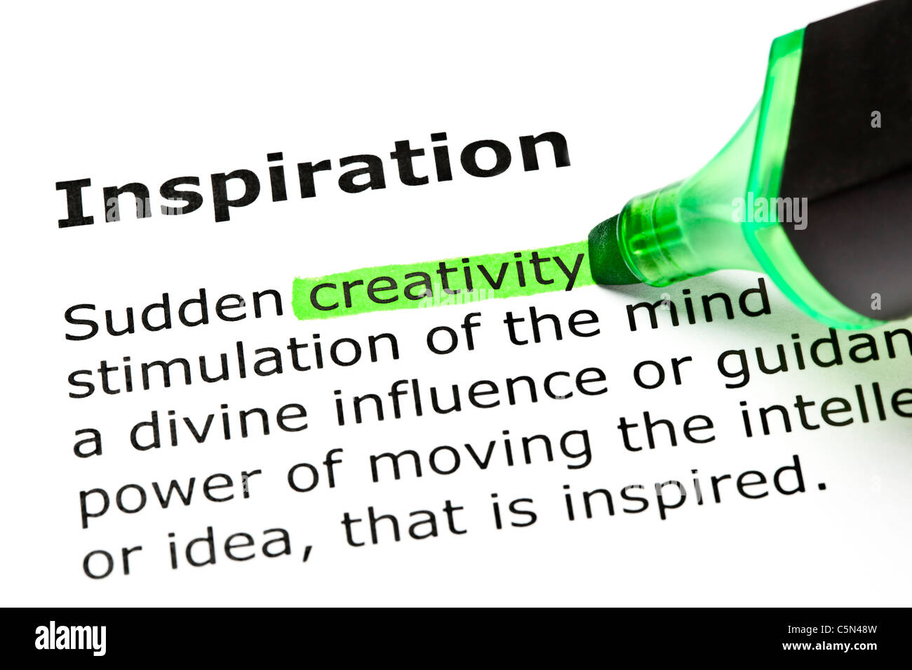 'Creativity' highlighted in green, under the heading 'Inspiration' - Stock Image
