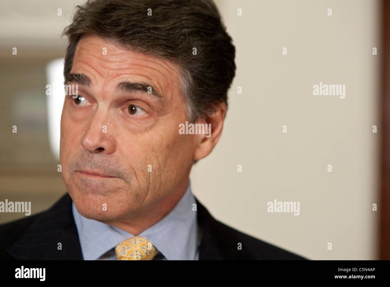 Texas Republican Governor Rick Perry during press conference at Texas Capitol in July, 2011 - Stock Image