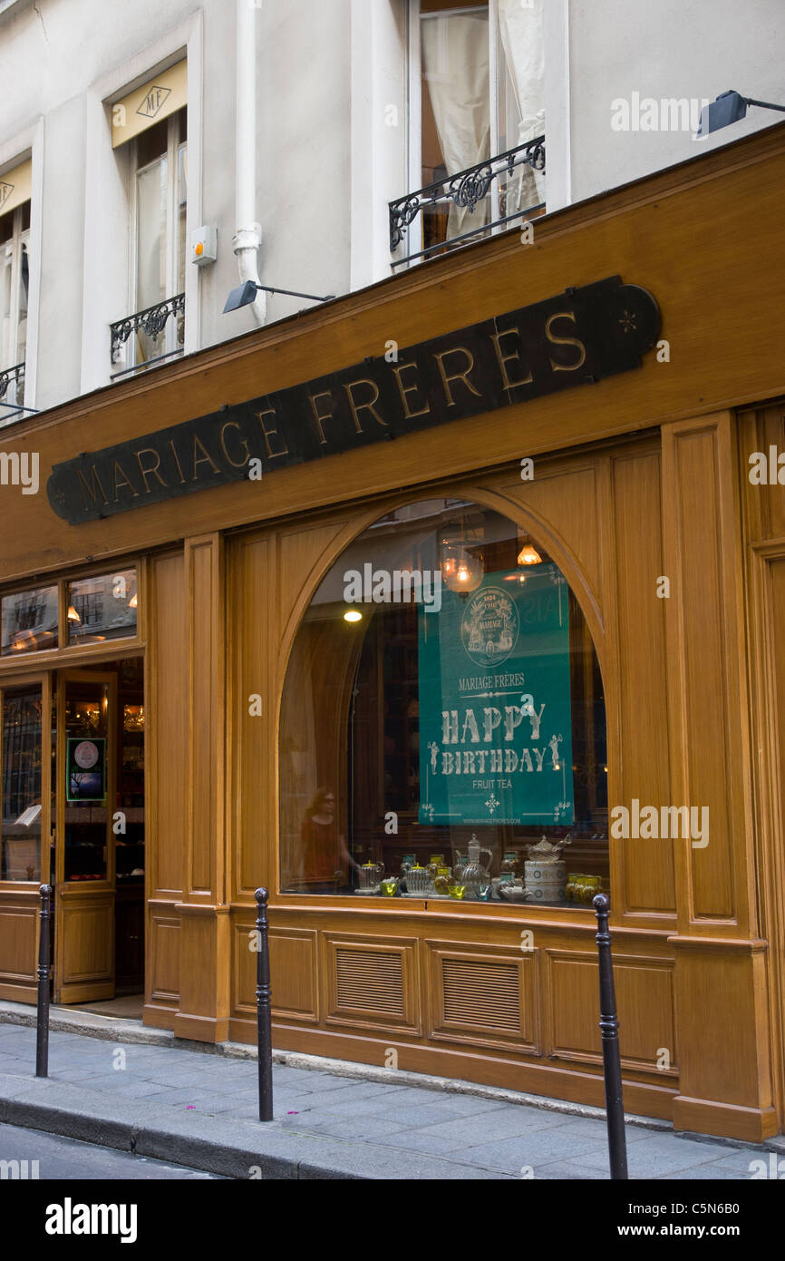Mariage Freres tea room and shop in the Marais, Paris, France - Stock Image