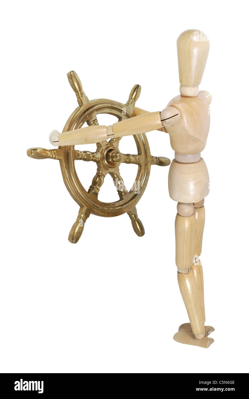 Model with a weathered nautical steering wheel - path included - Stock Image